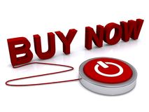 Buy now concept. The words buy now attached to a computer power button with a white background Royalty Free Stock Photography