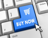 Buy now. 3D illustration of keyboard with blue shopping button Stock Image