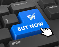 Buy now. 3D illustration of keyboard with  shopping button Royalty Free Stock Photos