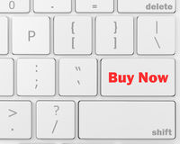 Buy now. 3D illustration of keyboard with  shopping button, 3d rendering Royalty Free Stock Photography