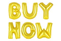 Buy now, gold color. Gold alphabet balloons, buy now, Gold number and letter balloon Stock Photo