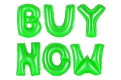 Buy now, green color. Buy now, green number and letter balloon Stock Photos