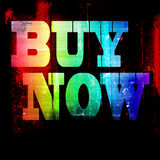 Buy now grunge background. Buy now inscription on a colored background stock photo