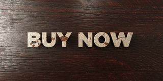 Buy now - grungy wooden headline on Maple - 3D rendered royalty free stock image. This image can be used for an online website banner ad or a print postcard vector illustration