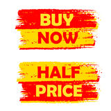 Buy now and half price, yellow and red drawn labels Royalty Free Stock Image