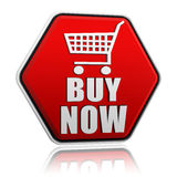 Buy now hexagon button with shopping cart sign Royalty Free Stock Photos