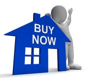 Buy Now House Shows Property For Sale Royalty Free Stock Photo