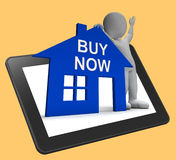 Buy Now House Tablet Shows Property For Sale Royalty Free Stock Photography