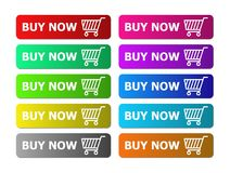 Buy now icon for your website. Add to cart, buy now button e commerce with ten color Royalty Free Stock Photos