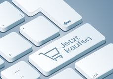 Buy now Key - Keyboard with 3D Concept illustration - German-Translation: Jetzt kaufen stock illustration