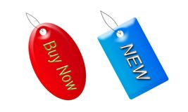 Buy now and new tags. With different two colours on the white background Stock Photos