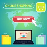 Buy now online shopping concept design Royalty Free Stock Photography