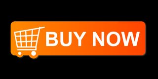 Buy Now Orange. Buy now button with a shopping cart on black background Royalty Free Stock Image