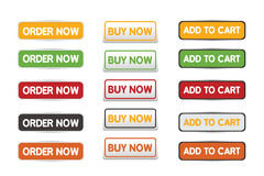 Buy now order now and add to cart web botton set Stock Images