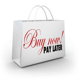 Buy Now Pay Later Words Shopping Bag Credit Financing Offer Deal Stock Photography