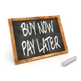 Buy Now Pay Latter Blackboard. A Colourful 3d Render Buy Now Pay Later Concept Blackboard Illustration Royalty Free Stock Photo