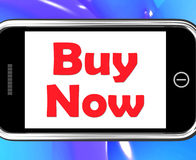 Buy Now On Phone Shows Purchasing And Online Shopping Royalty Free Stock Image