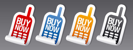 Buy now phone stickers. Royalty Free Stock Images