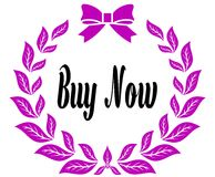 BUY NOW with pink laurels ribbon and bow. Illustration concept Stock Photography