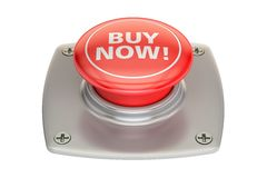 Buy Now Red Button, 3D rendering Royalty Free Stock Photos