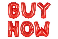 Buy now, red color. Red alphabet balloons, buy now, red number and letter balloon Stock Photography