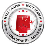 Buy Now; Save Now. 100% Satisfaction Guaranteed German language. Button / label for retail industry Royalty Free Illustration