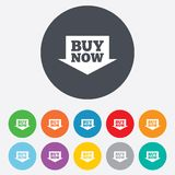 Buy now sign icon. Online buying arrow button. Stock Images