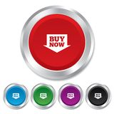 Buy now sign icon. Online buying arrow button. Round metallic buttons Royalty Free Stock Photography