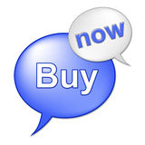 Buy Now Sign Indicates At This Time And Buyer Stock Image