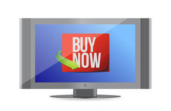 Buy now sign on a monitor. illustration design Royalty Free Stock Photo