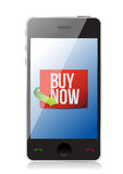 Buy now sign on a smartphone. illustration Stock Photography