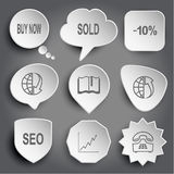 Buy now, sold, -10%, globe and array down, book, globe and array Stock Photos