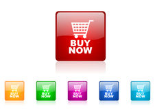 Buy now square web glossy icon Royalty Free Stock Photos