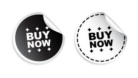 Buy now sticker. Black and white vector illustration. Royalty Free Stock Photos