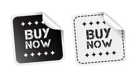 Buy now sticker. Black and white vector illustration. Stock Photos