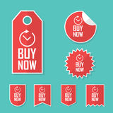 Buy now stickers. Limited time offer tags for sales. Promotional advertising elements collection. Stock Photos