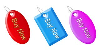 Buy now tags. With different three colours on the white background Royalty Free Stock Image