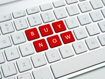 Buy now text on computer keyboard Royalty Free Stock Images