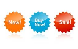 /buy nu /new van de verkoop etiketten Stock Foto's