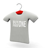 Buy one free one t-shirt concept illustration. Buy one free one t-shirt concept 3d illustration isolated white background Royalty Free Stock Photo