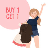 Buy one get 1 free discount promo girl happy holding purchase choose clothes. Vector Royalty Free Stock Photos