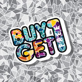 Buy one get free sale promo mosaic. Theme  illustration Stock Images