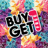 Buy one get free sale promo mosaic. Theme  illustration Stock Image