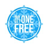 Buy One Get One Free Sign Circular Winter Sale. Blue Shop Vector Sign For A Buy One Get One Free Off Clearance stock illustration