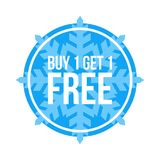 Buy One Get One Free Sign Numbers Circular Winter Sale. Red Shop Vector Sign For A Buy One Get One Free Off Clearance stock illustration