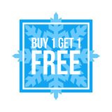 Buy One Get One Free Sign Numbers Square. Red Shop Vector Sign For A Buy One Get One Free Off Clearance royalty free illustration