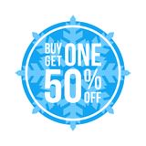 Buy One Get One 50% Off Sign Circular Winter Sale. Blue Shop Vector Sign For A Buy One Get One Free Off Clearance Royalty Free Stock Images