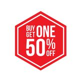 Buy One Get One 50% Off Sign Hexagon. Red Shop Vector Sign For A Buy One Get One Free Off Clearance Stock Images