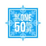 Buy One Get One 50% Off Sign Square Winter Sale. Blue Shop Vector Sign For A Buy One Get One Free Off Clearance Stock Photos