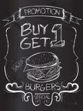Buy one Get one Burgers on blackboard. Vector Art Stock Image